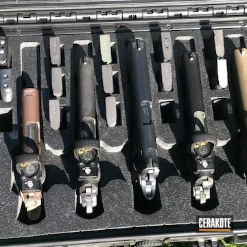 Pistols Cerakoted Using Vortex® Bronze, Armor Black And Patriot Brown