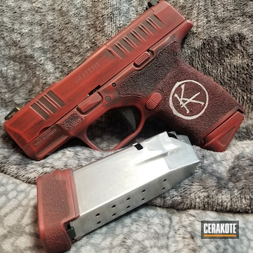 Springfield Armory Hellcat Cerakoted Using Crimson, Crushed Silver And Graphite Black