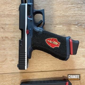Glock 19x Cerakoted Using Snow White, Shimmer Aluminum And Usmc Red
