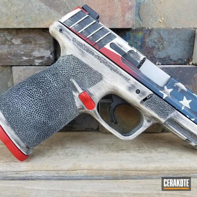 Cerakoted: S.H.O.T,NRA Blue H-171,Snow White H-136,Graphite Black H-146,Smith & Wesson,Distressed American Flag,USMC Red H-167,Freedom,SD40VE