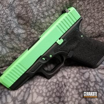 Glock 19 Cerakoted Using Parakeet Green And Graphite Black