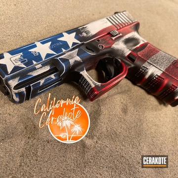 American Flag Themed Glock 19 Cerakoted Using Stormtrooper White, Usmc Red And Nra Blue