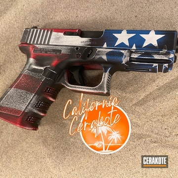 Distressed American Flag Themed Glock 19 Cerakoted Using Stormtrooper White, Usmc Red And Nra Blue