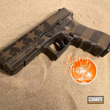 Distressed American Flag Themed Glock 17 Cerakoted Using Graphite Black And Burnt Bronze