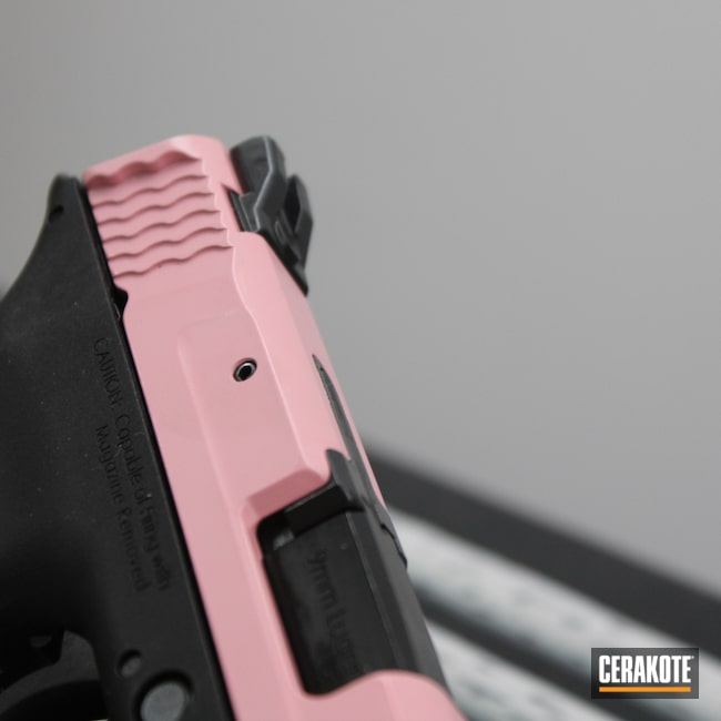 Cerakoted: S.H.O.T,Bazooka Pink H-244,Two Tone,Pink,Smith & Wesson,Pistol,Girly,Ladies