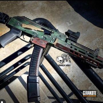 Mandalorian Themed Ak-47 Cerakoted Using Crimson, Jesse James Eastern Front Green And Titanium