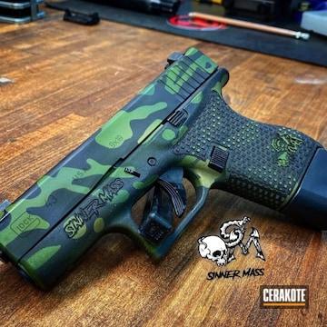 Custom Camo Glock 43 Cerakoted Using Noveske Tiger Eye Brown, Multicam® Bright Green And Graphite Black