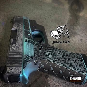 Glock 43x Cerakoted Using Graphite Black And Robin's Egg Blue