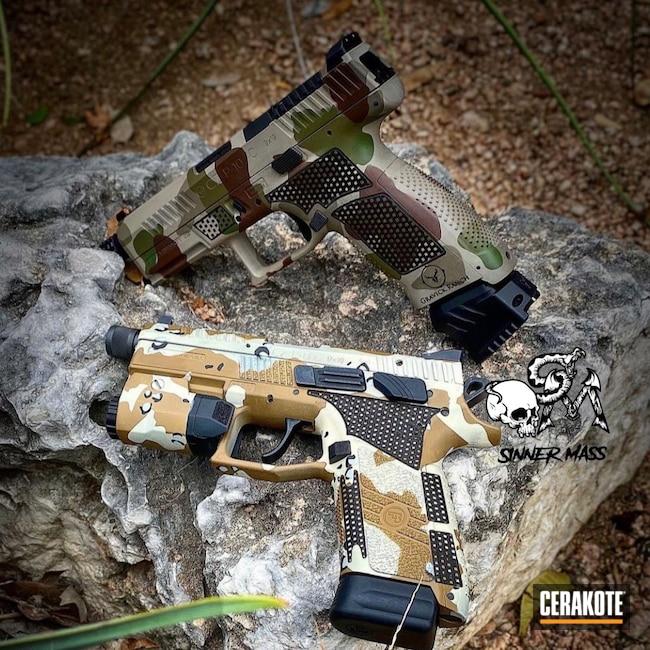 Cerakoted: S.H.O.T,Laser Stippled,Military Theme,Stippled,Pistol,Threaded Barrel,Noveske Bazooka Green H-189,EDC,p10c,Plum Brown H-298,Handgun,9mm,Desert Camo,Graphite Black H-146,Chocolate Chip Camo,MCMILLAN® TAN H-203,CZ,GLOCK® FDE H-261