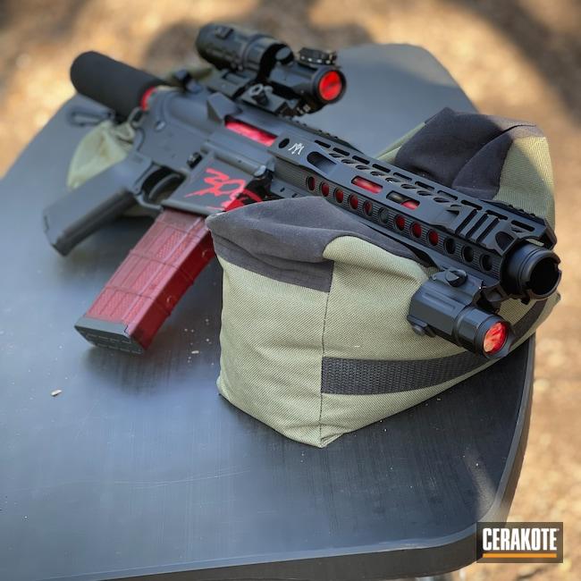 Cerakoted: S.H.O.T,AR Pistol,Custom Graphic,Barrel,RUBY RED H-306,Pistol,Handguns,Buffer Tube,BCG,Handgun,Pistols