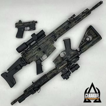 Custom Camo Firearms Cerakoted Using Sniper Green, Sig™ Dark Grey And Graphite Black