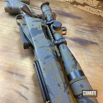 Custom Camo Bolt Action Rifle Cerakoted Using Forest Green, Sniper Grey And Graphite Black