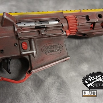 Distressed Ar-15 Build Cerakoted Using Sunflower, Firehouse Red And Cobalt