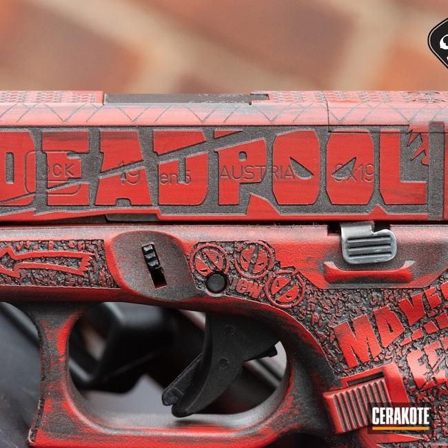 Cerakoted: S.H.O.T,Glock 19,Vortex,USMC Red H-167,Deadpool,Superhero,Pistol,Glock,Streamlight,Cobalt H-112