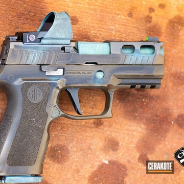 Copper Patina Themed Sig Sauer P320 Pistol Cerakoted Using High Gloss Ceramic Clear, It's A Boy And Graphite Black