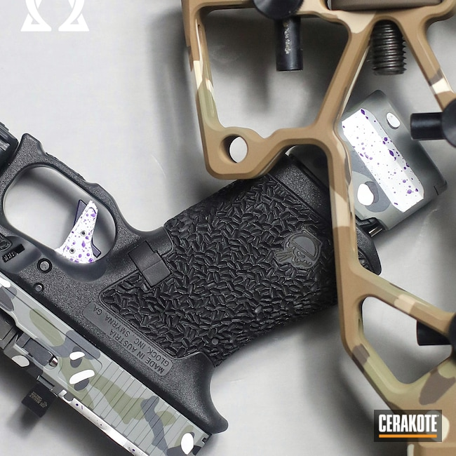Cerakoted: S.H.O.T,Glock 19,9mm,FROST H-312,LOLLYPOP PURPLE C-163,Glock,Bull Shark Grey H-214,Forest Green H-248,SIG™ DARK GREY H-210,Zev