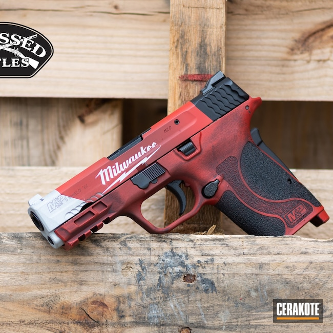Cerakoted: S.H.O.T,Hidden White H-242,FIREHOUSE RED H-216,9mm EZ,Graphite Black H-146,Milwaukee,Smith & Wesson,Pistol,Construction,Tools