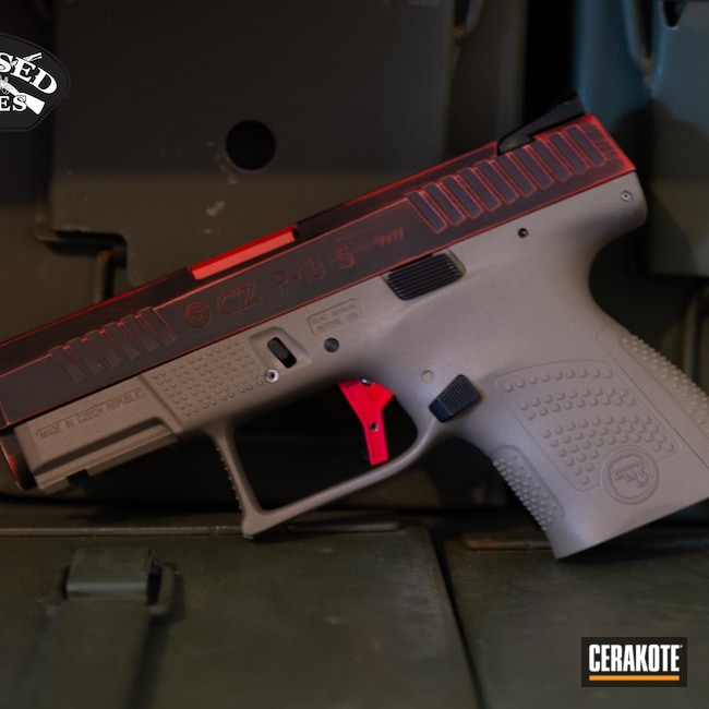 Cerakoted: S.H.O.T,FIREHOUSE RED H-216,Distressed,Pistol,CZ,Firearms,Red