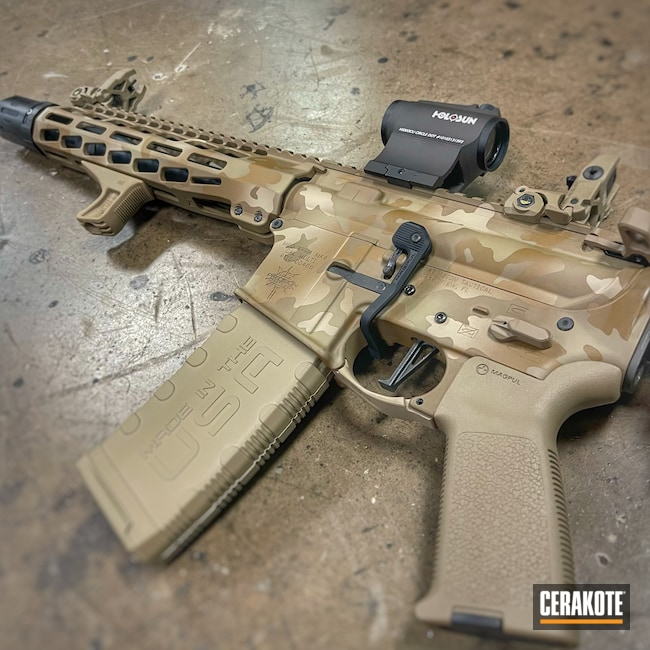 Cerakoted: S.H.O.T,AR Pistol,Precision Tactical,Desert Sand H-199,.223,A.I. Dark Earth H-250,GLOCK® FDE H-261,Custom Camo
