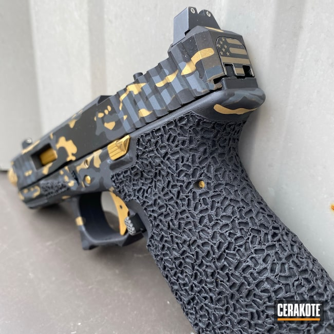 Cerakoted: S.H.O.T,Custom Glock,Custom Color,Shadow Systems,Everyday Carry,Pistol Slide,Gold H-122,Glock 19,9mm,Gucci Glock,Custom Glock Frame,Graphite Black H-146,Camo,Glock,Custom Glock Slide,Camouflage