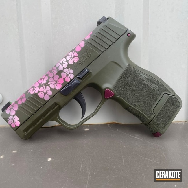Flower Themed Sig Sauer P365 Pistol Cerakoted Using Bazooka Pink, Black Cherry And Prison Pink