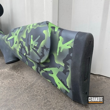 Custom Camo Weatherby Rifle Cerakoted Using Squatch Green, Sniper Grey And Graphite Black
