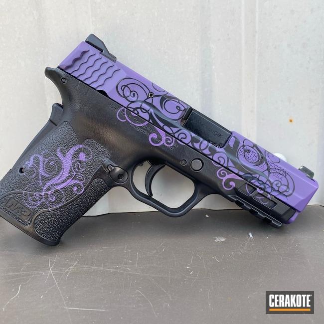 Cerakoted: S.H.O.T,Graphite Black H-146,Bright Purple H-217,Smith & Wesson,Paisley,M&P Shield EZ