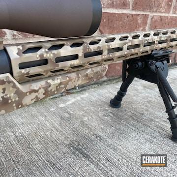 Falkor Defense Bolt Action Rifle Cerakoted Using Desert Sand, Fs Brown Sand And Benelli® Sand