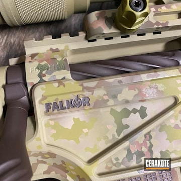 Custom Camo Falkor Defense Rifle Cerakoted Using Noveske Bazooka Green, Chocolate Brown And Multicam® Bright Green