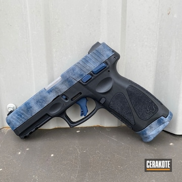 Freehand Camo Taurus Pistol Cerakoted Using Kel-tec® Navy Blue And Sniper Grey
