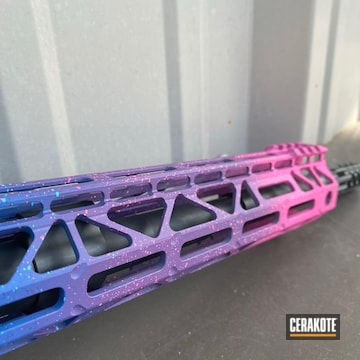 Five Tone Color Fade Ar Cerakoted Using Kel-tec® Navy Blue, Bazooka Pink And Prison Pink