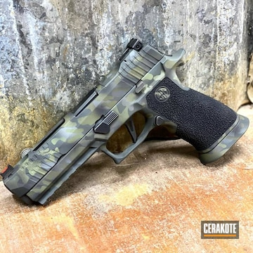 Custom Camo Sig Sauer P320 Pistol Cerakoted Using Hazel Green, Sig™ Dark Grey And Graphite Black