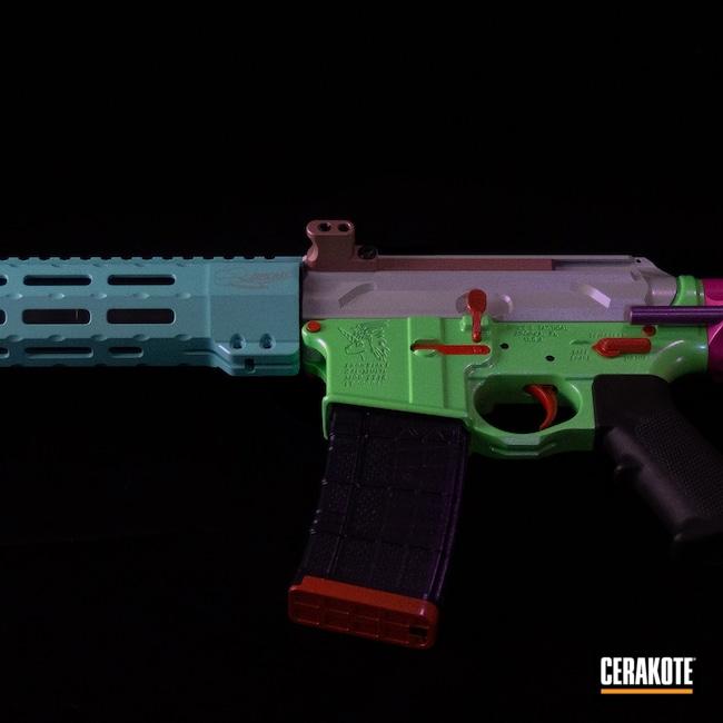 Cerakoted: S.H.O.T,Hidden White H-242,Spike's Tactical,PARAKEET GREEN H-331,Snowflake,Rainbow,AR Build,Spikes Snowflake,GunCandy
