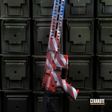 Distressed American Flag Themed Ar Cerakoted Using Hidden White, Usmc Red And Nra Blue