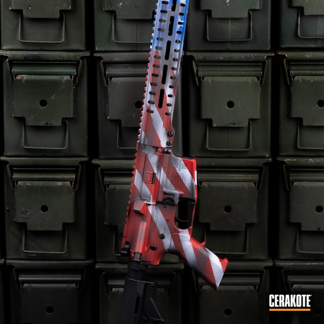 Cerakoted: Hidden White H-242,S.H.O.T,Patriotic,NRA Blue H-171,Graphite Black H-146,Distressed American Flag,USMC Red H-167,American Flag,AR Build