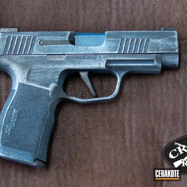 Cerakoted: S.H.O.T,Sig P365,Stone Grey H-262,Graphite Black H-146,Distressed,p365,Pistol,Sig Sauer,Sig,Blue Titanium H-185