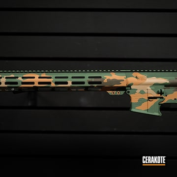 Custom Camo Ar Builders Set Cerakoted Using Noveske Tiger Eye Brown, Magpul® Foliage Green And Graphite Black