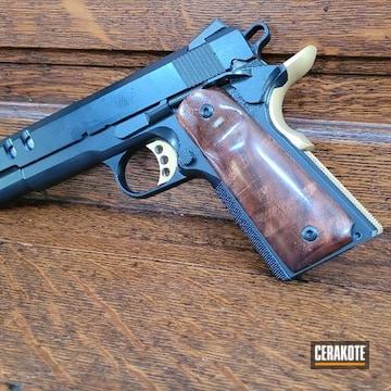 Custom 1911 Pistol Cerakoted Using Midnight And Gold