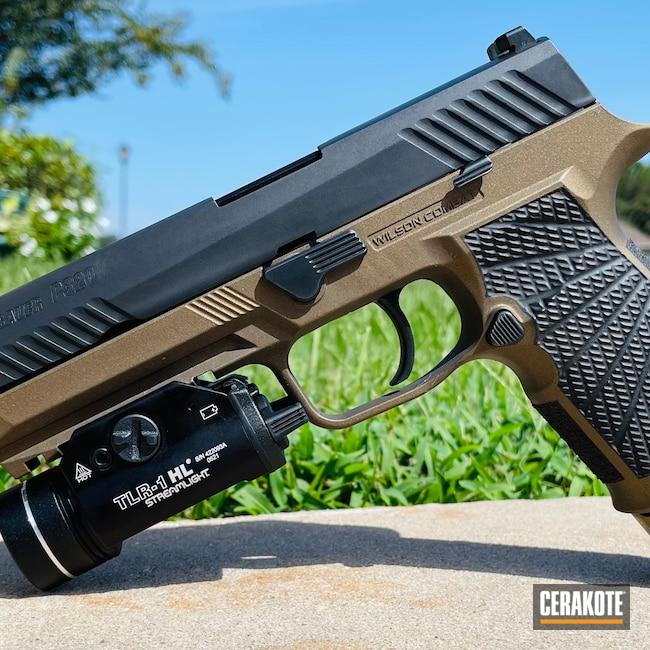 Cerakoted: S.H.O.T,9mm,Sig P320,Graphite Black H-146,Burnt Bronze H-148