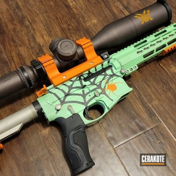 Spider Web Themed Ar Build Cerakoted Using Shimmer Aluminum, Hi-vis Orange And Parakeet Green