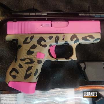 Leopard Print Glock 43x Cerakoted Using Prison Pink