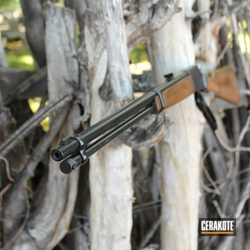 Lever Action Browning Rifle Cerakoted Using Gloss Black