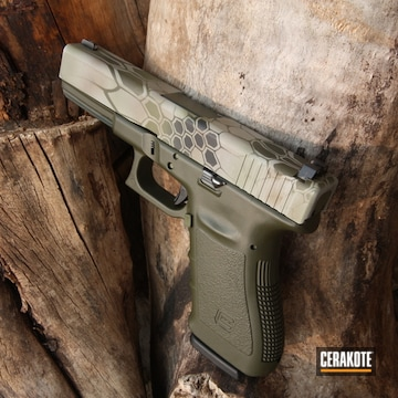 Kryptek Camo Glock 21 Cerakoted Using Battleship Grey, Graphite Black And Mil Spec Green