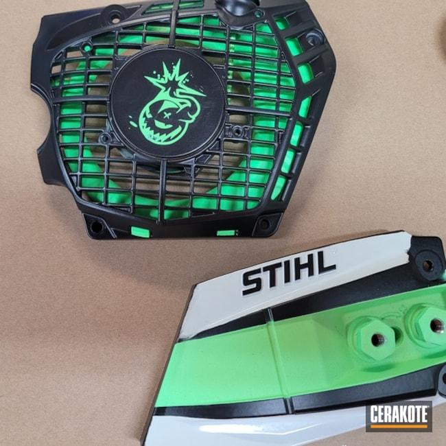 Stihl Chainsaw Cerakoted Using Armor Black And Parakeet Green