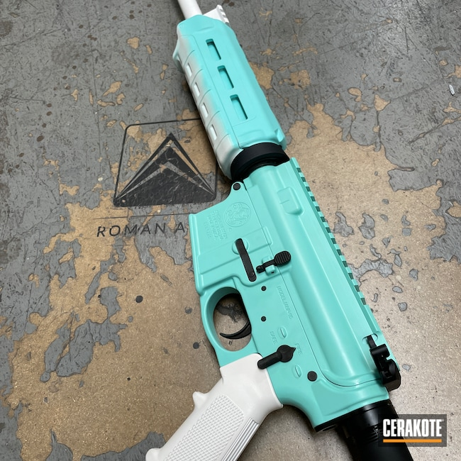 Cerakoted: Two-Color Fade,S.H.O.T,Rifle,Fundraiser,Robin's Egg Blue H-175,High Temp,Two Tone,Barrel,Tactical Rifle,.223,Bright White C-140,tiffany,Gas Block,5.56,Bright White H-140,Modern Sporting Rifle,Smith & Wesson,S&W M&P15,Fade
