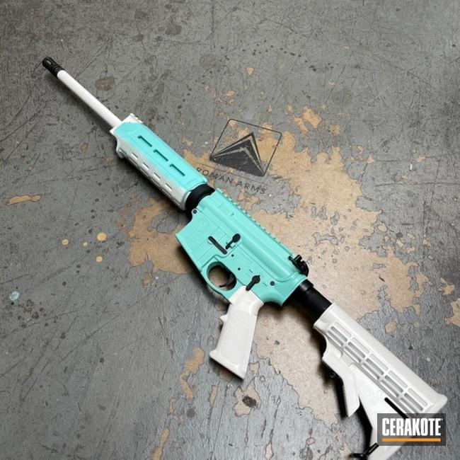 Smith & Wesson M&p15 Cerakoted Using Bright White, Bright White And Robin's Egg Blue