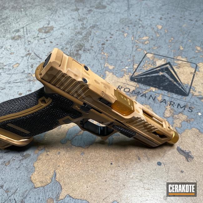 Cerakoted: S.H.O.T,Glock 45,SLR,Stippled,Pistol,Hand Stippled,EDC,A.I. Dark Earth H-250,Custom Camo,Handgun,Noveske Tiger Eye Brown H-187,9mm,Gucci Glock,Custom,Glock,Handguns,FS Sabre Sand H-33446