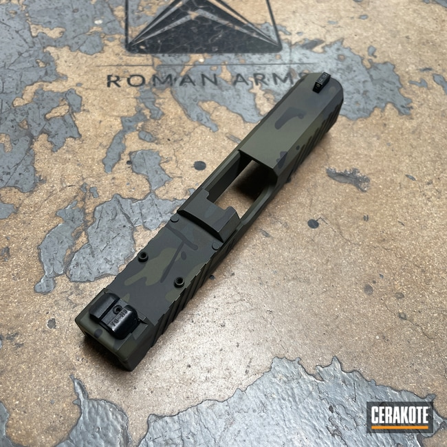 Cerakoted: S.H.O.T,Stippled,Pistol,Hand Stippled,SIG™ DARK GREY H-210,MultiCam Black,Handgun,9mm,HAZEL GREEN H-204,MultiCam,Custom,Sniper Green H-229,Graphite Black H-146,Glock,Custom Glock Slide,Handguns,Glock 19X