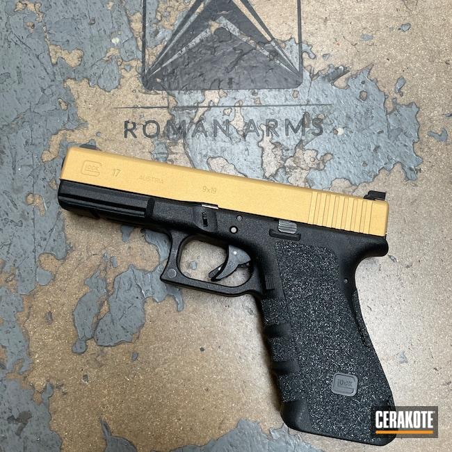 Cerakoted: S.H.O.T,9mm,Glock Slide,Pistol,Glock,Glock 17,Custom Glock Slide,Slide,Handguns,Gen 3,Gold H-122,Handgun