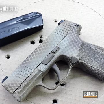 Custom Camo Sig Sauer P365 Pistol Cerakoted Using Desert Sand, Bright White And Chocolate Brown